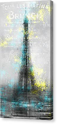 City-art Paris Eiffel Tower Letters Canvas Print by Melanie Viola