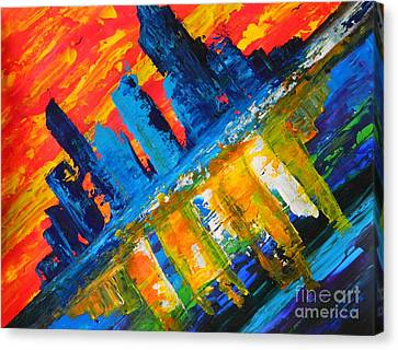 Canvas Print featuring the painting City By The Sea by Everette McMahan jr