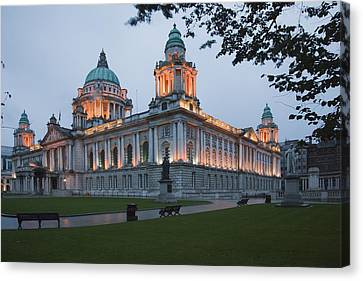 City Hall Illuminated Belfast, County Canvas Print by Peter Zoeller