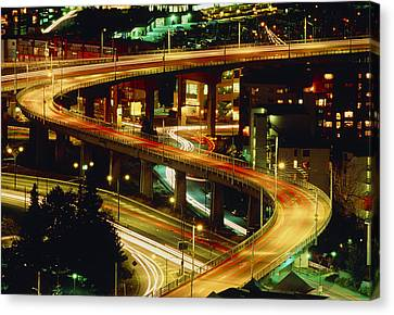 Vancouver At Night Canvas Print - City Lights And Traffic On Bridge In Vancouver by Kaj R. Svensson