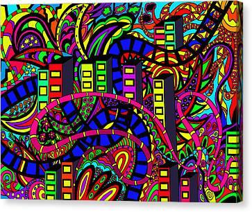 City Of Life Canvas Print by Karen Elzinga