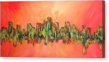 Canvas Print featuring the painting City Of Lights by Mary Kay Holladay
