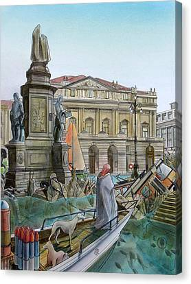 City Of Milan In Italy Under Water Canvas Print by Fabrizio Cassetta
