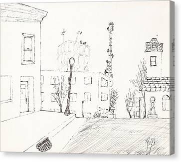 City Street - Sketch Canvas Print by Robert Meszaros