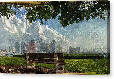 Canvas Print featuring the digital art Citybench by Andrea Barbieri
