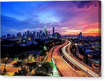 Cityscape Of Kuala Lumpur Canvas Print by by Arief Rasa