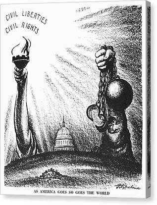 Statue Of David Canvas Print - Civil Rights Cartoon, 1953 by Granger