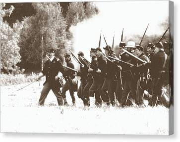 Canvas Print featuring the photograph Civil War Charge by Tom Wurl