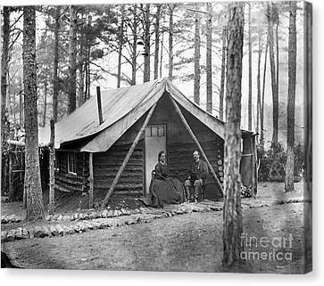 Civil War: Log Cabin, 1864 Canvas Print by Granger