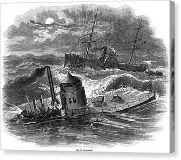 Civil War: Monitor Sinking Canvas Print by Granger