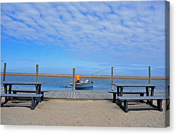 Clammer In The Bay Canvas Print by Dennis Clark