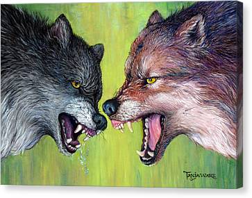 Clash Of The Alphas Canvas Print by Tanja Ware