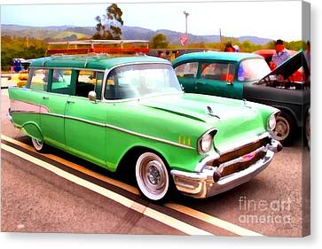 Classic Green Chevrolet Stationwagon . 7d15213 Canvas Print by Wingsdomain Art and Photography