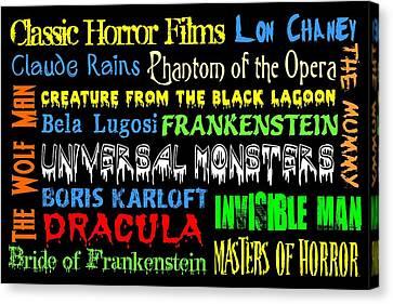 Classic Horror Films Canvas Print by Jaime Friedman