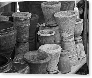 Clay Pots Bw Canvas Print by Teresa Mucha