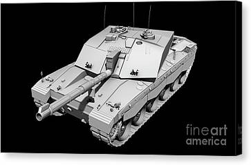Clay Render Of A Challenger II Tank Canvas Print by Rhys Taylor