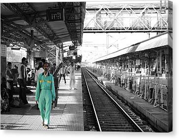 Cleaner At The Train Station Canvas Print by Sumit Mehndiratta