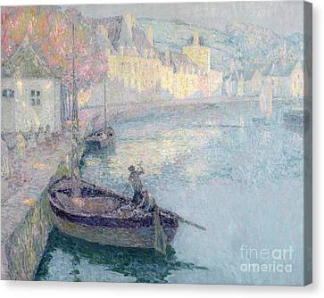 Harbour Canvas Print - Clear Morning - Quimperle by Henri Eugene Augustin Le Sidaner