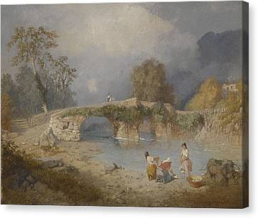 Clearing Up For Fine Weather Beddgelert North Wales 1867 Canvas Print by James Baker Pyne