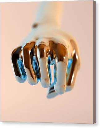 Clenched Fist, Computer Artwork Canvas Print by Christian Darkin