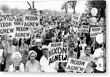 Cleveland Supporters Of The Nixon-agnew Canvas Print by Everett
