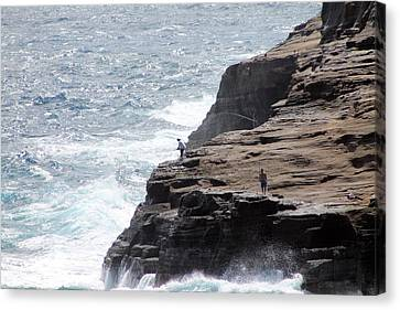 Canvas Print featuring the photograph Cliff Fishing by Elizabeth  Doran