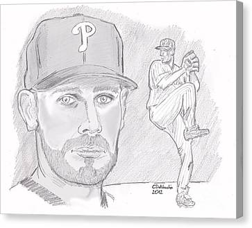 Canvas Print featuring the drawing Cliff Lee by Chris  DelVecchio