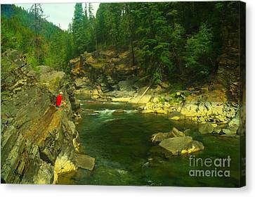 Cliff Over The Yak River Canvas Print by Jeff Swan