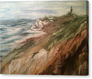 Cliff Side - Newport Canvas Print by Karen  Ferrand Carroll