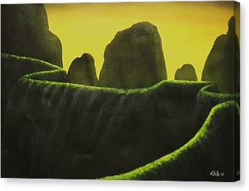 Canvas Print featuring the painting Cliffs by Edwin Alverio