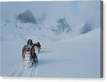 Climbers Travel Over Baffin Island Via Canvas Print