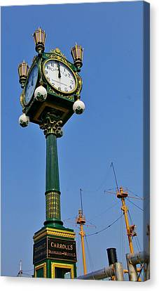 Clock At The Harbor Canvas Print by Christine Burdine
