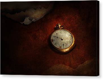 Clock - Time Waits For Nothing  Canvas Print by Mike Savad
