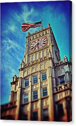 Canvas Print featuring the photograph Clock Tower In Downtown Jackson 1 by Jim Albritton