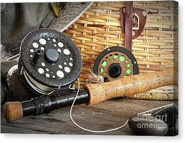 Close-up Fly Fishing Rod  Canvas Print by Sandra Cunningham