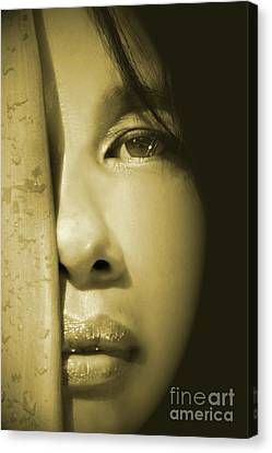 Close-up Of A Beautiful Asian Woman Canvas Print by Sandra Cunningham