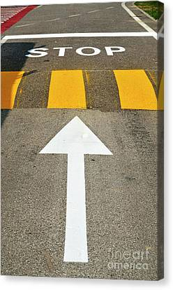 Close-up Of A Street Sign Canvas Print by Sami Sarkis