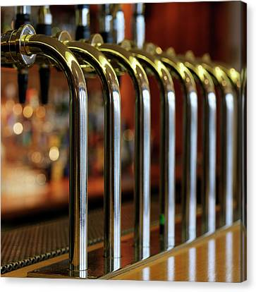 Close-up Of Bar Taps Canvas Print by Stockbyte