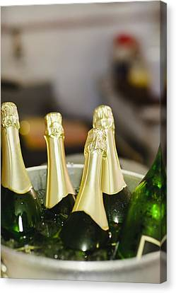 Close Up Of Bucket Of Champagne Canvas Print