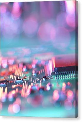 Close Up Of Colorful Circuit Board Canvas Print by Cultura Science/Rafe Swan