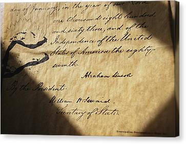 Close-up Of Emancipation Proclamation Canvas Print by Todd Gipstein