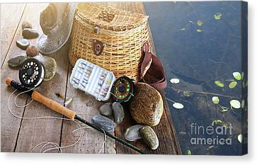 Close-up Of Fishing Equipment And Hat  Canvas Print by Sandra Cunningham