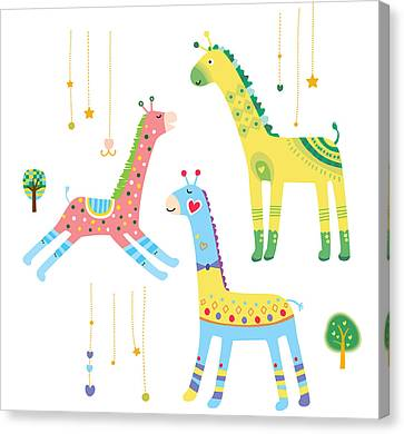 Close-up Of Giraffes Canvas Print by Eastnine Inc.