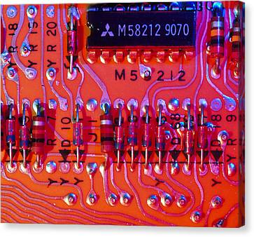 Close-up Of Printed Circuit Board Canvas Print by Pasieka