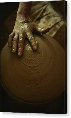 Close-up Of The Brown Muddy Hand Canvas Print