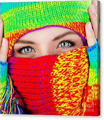 Close Up On Covered Face With Blue Eyes Canvas Print by Anna Om