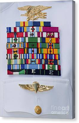 Close-up View Of Military Decorations Canvas Print by Michael Wood