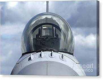 Close-up View Of The Canopy On A F-16a Canvas Print by Ramon Van Opdorp