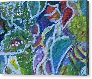 Close View Of One Of My Floral Paintings Canvas Print by Anne-Elizabeth Whiteway