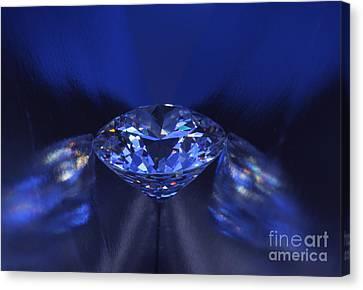 Closeup Blue Diamond In Blue Light. Canvas Print